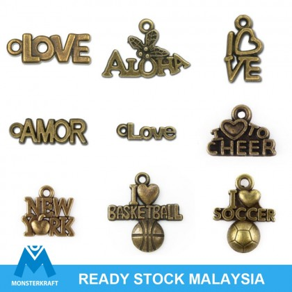 Pewter Charms, Words Theme, Antique Brass-Plated