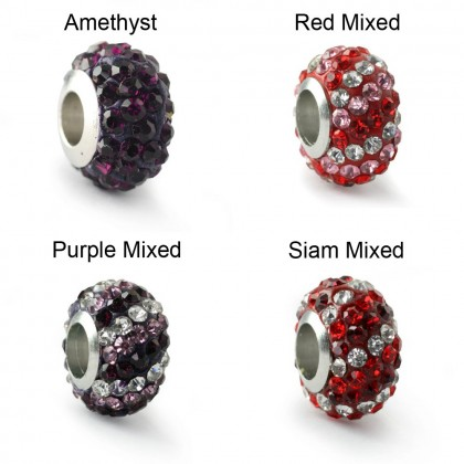 2 pcs Crystal Pave Beads, Large Hole Rondelle, 7x12mm