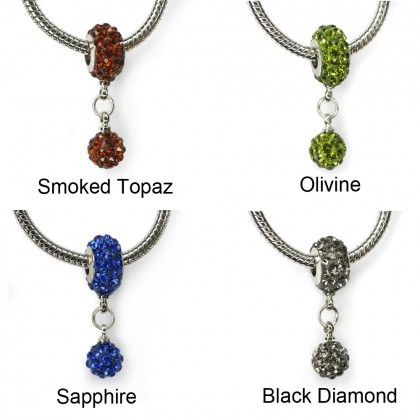 Crystal Pave Beads, Large Hole Rondelle Pendants, with 8mm Beads, 7x12mm
