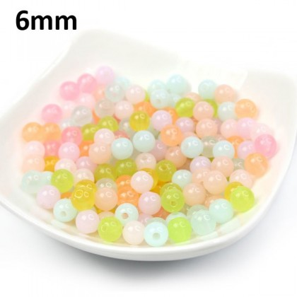 Sweet Opal Round Acrylic Beads for Kids Making Jewelry, 40 grams/pack