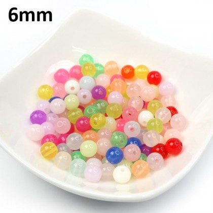 Candy Opal Round Acrylic Beads for Kids Making Jewelry, 40 grams/pack