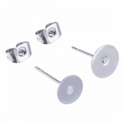 50 pairs Earstud, Flat Pad, Silver-Plated