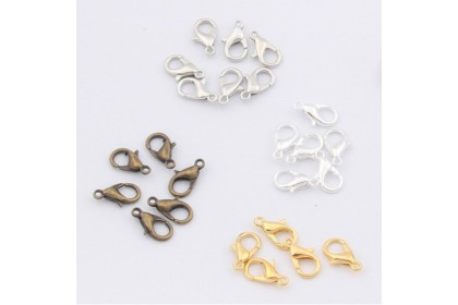 40pcs Lobster Claw Clasps, 10mm and 12mm, Most Popular and Secure, Cangkuk Hook