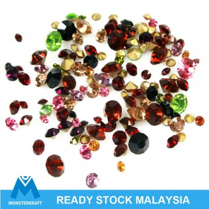 Rhinestone Beads, MonsterBling, Chaton Pointed Back, Assorted Colors