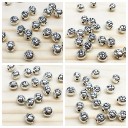 Alphabet Oval Beads (A-T), 10 pcs/pack, Antique Silver-Plated
