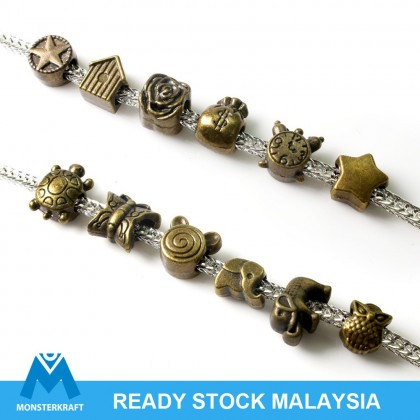 Large Hole Pewter Beads, Antique Brass-Plated
