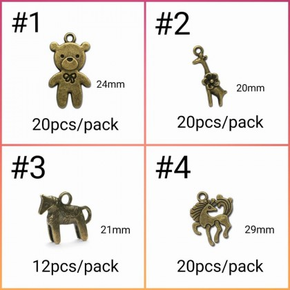 Pewter Charms,  Animals Theme Bear Koala Rabbit Teddy Pony Horse Giraffe, Antique Brass-Plated Pet Charm
