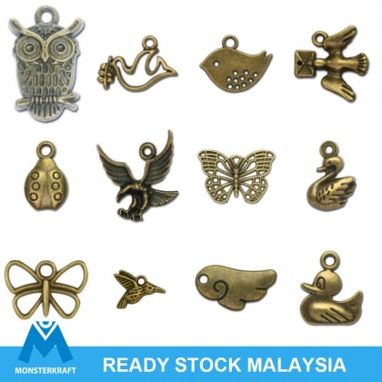 Pewter Charms, Wild Life Theme Bear Insect, Antique Brass-Plated Animal Bird Charm