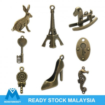 Pendant,  Big Charm, Antique Brass-Plated Pewter (612-491P)