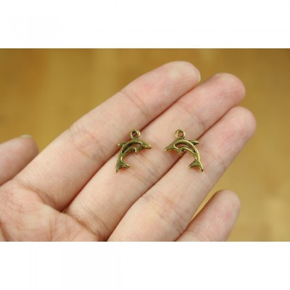Gold Charm, Pet Animal, Dolphin Fish Kitty 宠物, Gold/Antique Gold-Plated