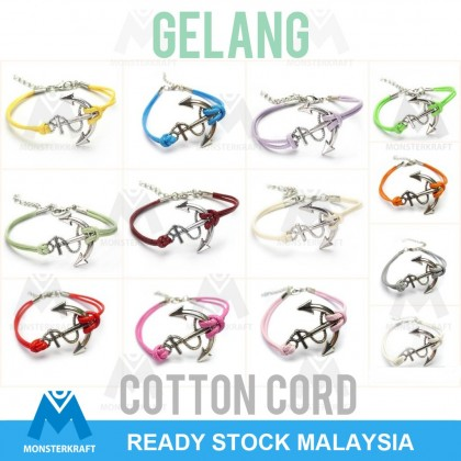 Bracelets, Woven Cotton Cord with Anchor, Gelang