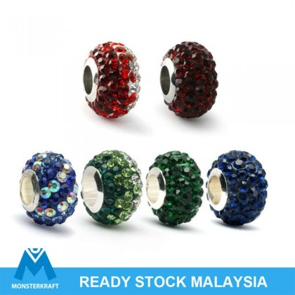 Crystal Pave Beads, Large Hole Rondelle, 7.5x11.5mm, Manik Crystal