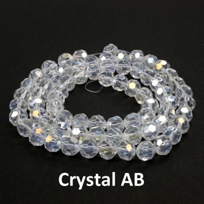 Chinese Crystal Glass Beads, Round Faceted, 8mm, Crystal & Crystal AB, 72 pcs