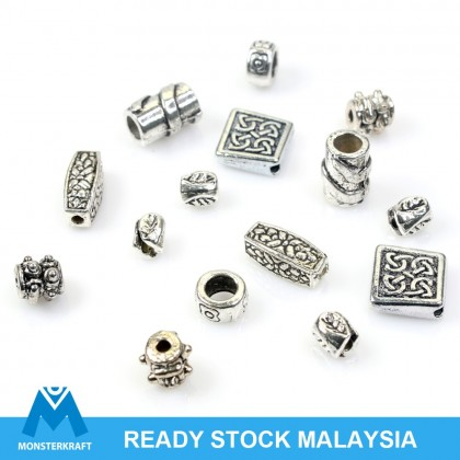 Vintage Metal Beads, Pewter Bead, Antique Silver-Plated
