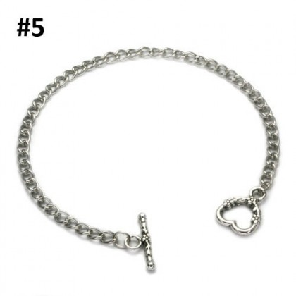 Charm Bracelets with Toggle Clasp, Chain, Silver-Plated, 2 pcs