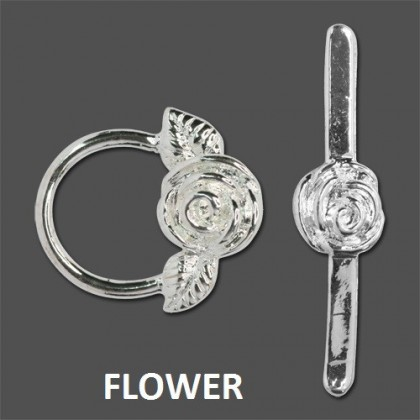 Toggle Clasp, Antique Silver-Plated/Bright Silver-Plated