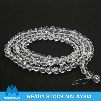 Chinese Crystal Glass Beads, Round Faceted, 6mm, Crystal & Crystal AB, 100 pcs