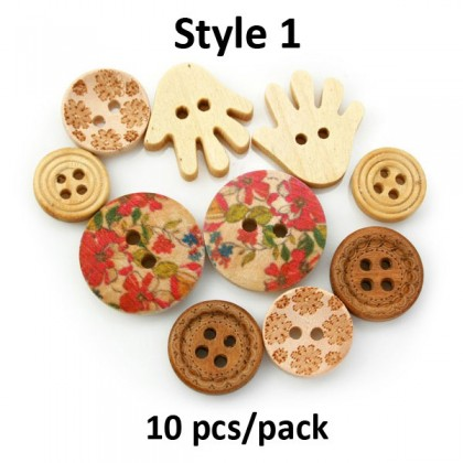 Wood Pendants Buttons, Mixed Lot, Vintage Button, Wooden Button