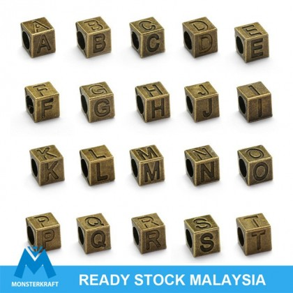 Alphabet Large Hole Pewter Beads (A~T), 7mm Cube, Antique Brass-Plated, 10 pcs