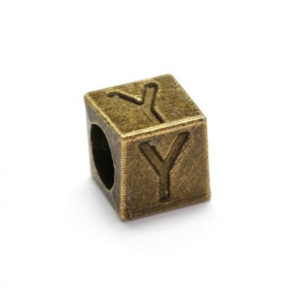 Alphabet Large Hole Pewter Beads (U~Z), 7mm Cube, Antique Brass-Plated, 10 pcs
