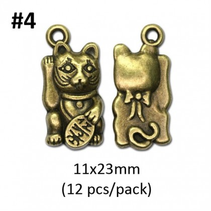 Kitty Cat Series, Charm Pendant Picture Frame, Antique Brass-Plated