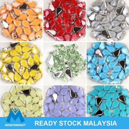 30pcs Chunky Beads Acrylic Sew-on Stones, Beads, Tear Drop, 8x13mm, Batu Jahitan
