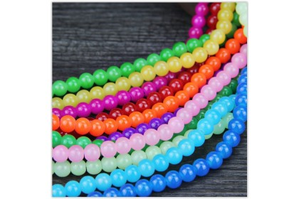 8mm Glass Beads, Round, Imitation Chalcedony, 100 pcs/strand