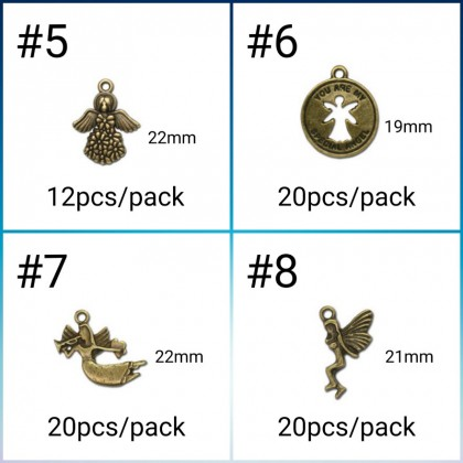 Pewter Charms,  Angel Theme, Antique Brass-Plated