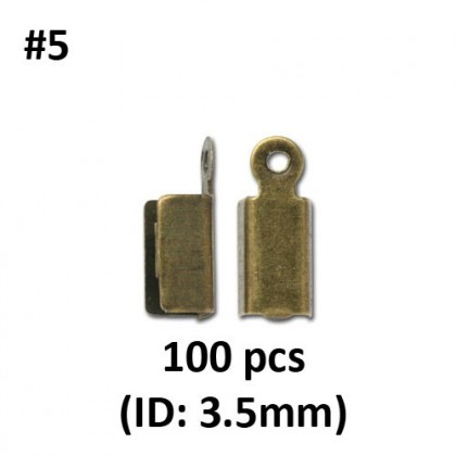 Cord/Ribbon/Chain Crimp End, Antique Brass-Plated Iron