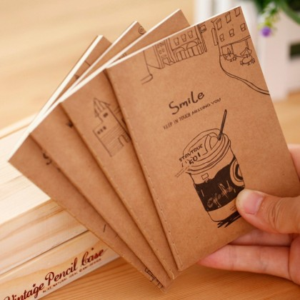 10 Books Kraft Paper Notebook Stationery Kraft Paper Mini Book, Pocket Notepad