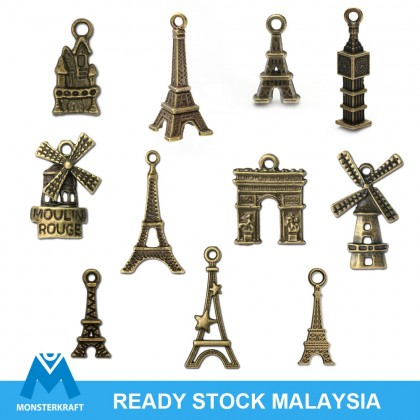 Charms Building Series Random Mix, Architecture Eiffel Tower, Antique Brass-Plated Pewter 50grams /pack