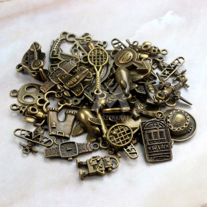 Charms Boys and Vehicles Series Random Mix, Sport, Antique Brass-Plated Pewter 50grams /pack