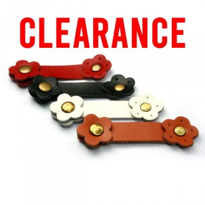 CLEARANCE!! 1 pcs Buckles with Snap Button, Genuine Cowhide Leather, Flower, 1.5cm Wide x 8cm Long