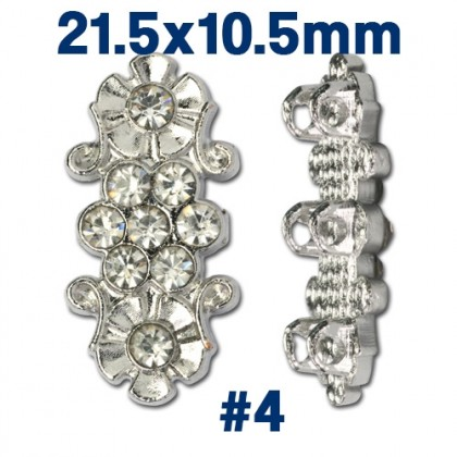 CLEARANCE!! 1 pcs Spacer, 3 Strand 2 Strand, Silver Gold Bright Silver-Plated Pewter
