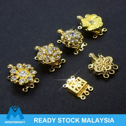 Promo!! Clasps Box, 3-Strand Filigree Square, Rhinestones, Gold-Plated Brass, DIY Jewelry