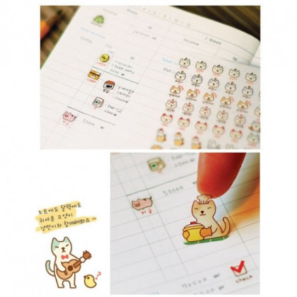 6 Sheets Cartoon Stickers, Pop Animal Molang Cooky's Helloday Cooky Shop 表情包贴纸 Sticker