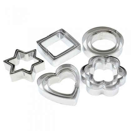 Shapes Stainless Steel Frame Cutter, 3 sizes/set, Clay Craft, Bakeware, Clay tools