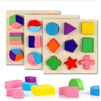 Wooden Puzzle Geometric Shapes 3D Puzzle Montessori Toys Sorting Math Pre-school Learning Wood Puzzles for Kids
