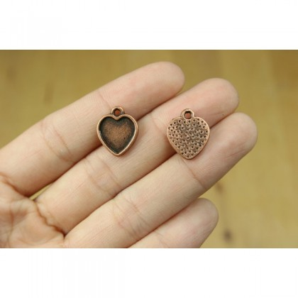 Copper Pewter Charms, Crown Princess Queen Love Heart Star Valentine Charm, Antique Copper-Plated