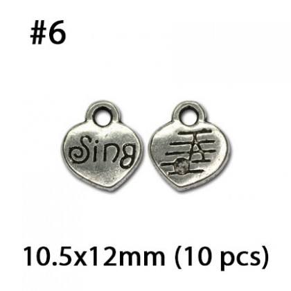 Silver Charms, Love Valentine Couple Wedding Heart Anniversary Relationship, Silver/Antique Silver-Plated Pewter Charm