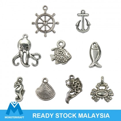 Silver Charms, Sea Life Beach Ocean Fish Octopus Crab Clam Shell, Silver/Antique Silver-Plated Pewter Charm