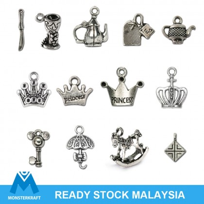Silver Charms, Princess Crown Alice Wonderland Fairy Tale Tea Time, Silver/Antique Silver-Plated Pewter Charm