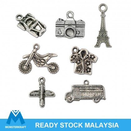 Silver Charms, Holiday Travel Cuti Vacation Trip Camera Transport Flight, Silver/Antique Silver-Plated Pewter Charm