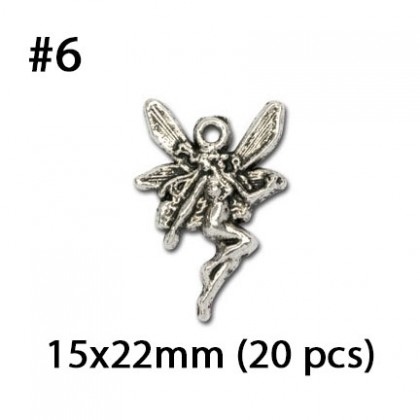 Silver Charms, Stars Moon Fairy Sun Angel, Silver/Antique Silver-Plated Pewter Charm Star