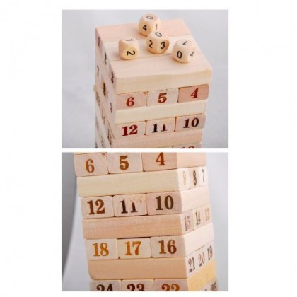 48 Pcs Wooden Number Stacking Block / Jenga Tower Toy FREE 4 Dices
