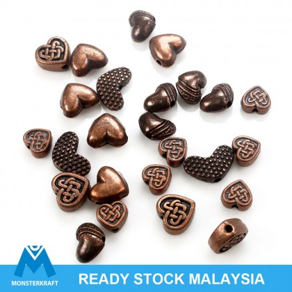 Copper Lead-Safe Pewter Bead, Heart Shape, Antique Copper-Plated, Metal Beads