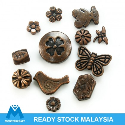 Copper Lead-Safe Pewter Bead, Flower Animal Flora Fauna Insect Butterfly, Antique Copper-Plated, Metal Beads