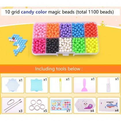 1100 pcs (10 Colors) DIY Water Magic Sticky Beads With Accessories Set