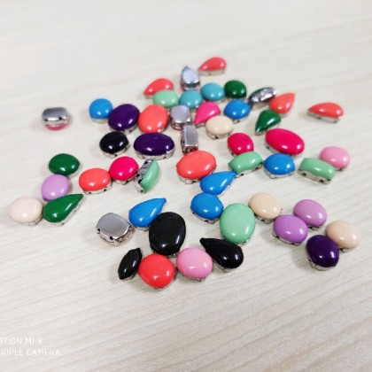 Resin Sew-on Rhinestones with Settings, Mixed Lot, 20 grams/pack